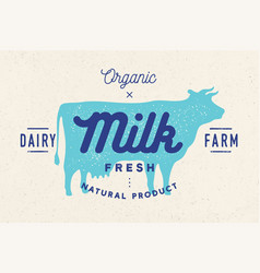 milk cow logo with cow silhouette text milk vector image