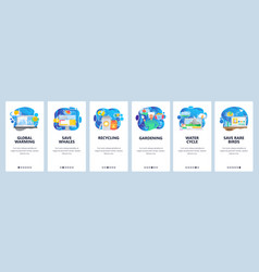 Mobile app onboarding screens climate change vector