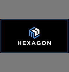 Mu hexagon logo design inspiration vector