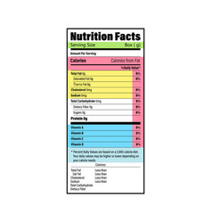 Nutrition facts information label for box daily vector