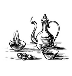 Oriental tea engraving vector