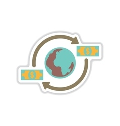 Paper sticker on white background earth money vector
