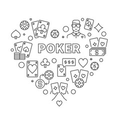 Poker heart concept in thin vector