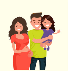 portrait of a happy young family vector image