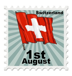 post stamp of national day of Switzerland vector image