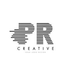 Pr p r zebra letter logo design with black and vector