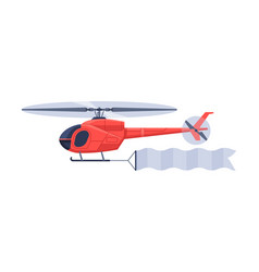 Red helicopter with blank banner flying in sky vector