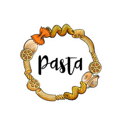 round frame of uncooked italian pasta with place vector image