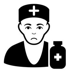 Sad apothecary doctor black icon vector