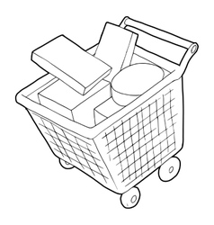 Sale shopping cart with boxes icon outline style vector image