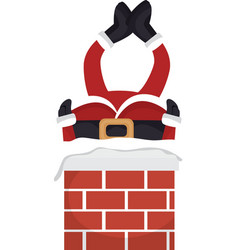 Santa claus stuck in chimney vector