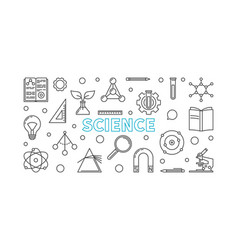science horizontal banner in outline style vector image