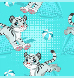 Seamless pattern with white tigers playing vector