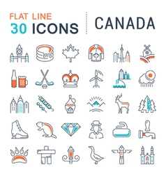 Set Flat Line Icons Canada vector