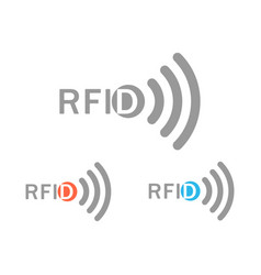 Set from the gray rfid logo with the image of the vector