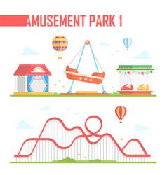 Set of amusement park elements - modern vector