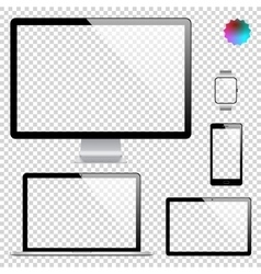 Set of realistic display laptop tablet computer vector
