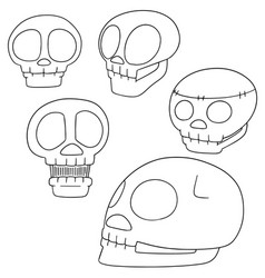 set of skull cartoon vector image