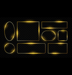shiny golden frames glowing border lines for vector image