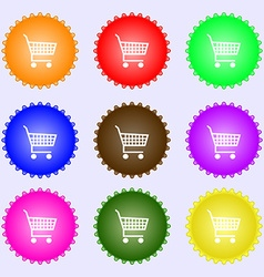 shopping cart icon sign A set of nine different vector image