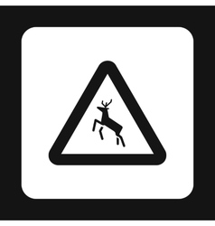 Sign caution deer icon simple style vector image