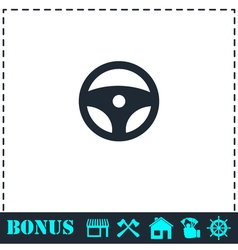 Steering Wheel icon flat vector