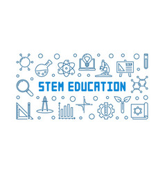 stem education concept outline horizontal vector image