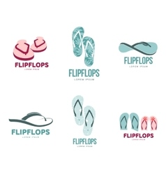 Stylized black and white rubber flip flops logo vector image