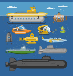 Submarine sea pigboat or marine sailboat vector