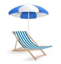 Sun beach umbrella with beach chair isolated on vector image