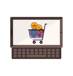 Tablet and keyboard with full shopping cart vector