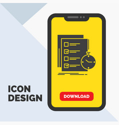Todo task list check time glyph icon in mobile vector