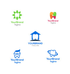 tooth logo bundle template vector image