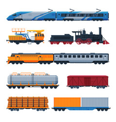 Trains collection side view passenger and vector