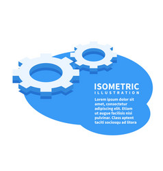 two cogwheels settings icon isometric template vector image