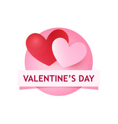 valentines day round logo with heart and caption vector image