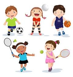 Various sports kids on a white background vector