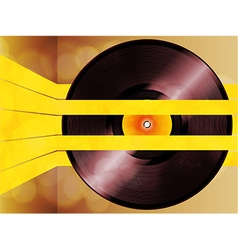 Vinyl record glowing on yellow stripes vector image