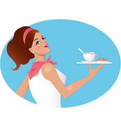Waitress holding a cup of coffee and biscuits vector image