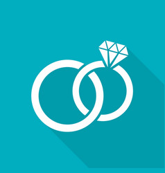 White wedding rings flat icon vector