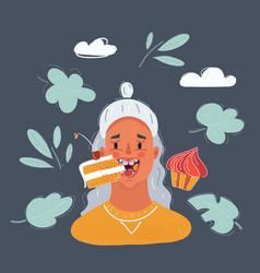 woman eat cakes on dark vector image