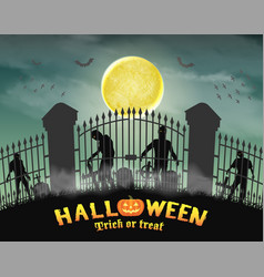 zombie group behind graveyard in cemetery gate vector image