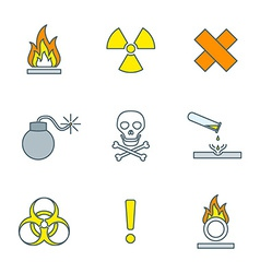 colored outline hazardous waste symbols warning vector image