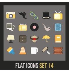 Flat icons set 14 vector image