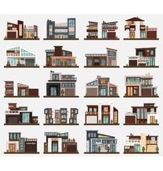 Modern houses or buildings with garage and bushes vector image