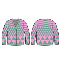 knitted cardigan with bold pattern vector image vector image