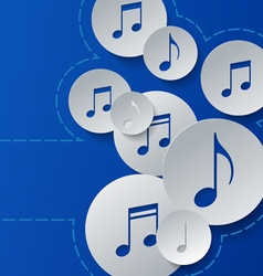 Music Notes Cut in Paper Circles on Blue vector image vector image