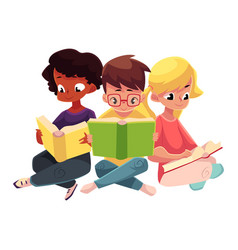 three children boys and girls reading books vector image vector image