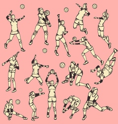 Woman Volley Ball Action Sport vector image