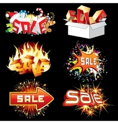 Bright Sale Tags and Icons Ready for Design vector image vector image